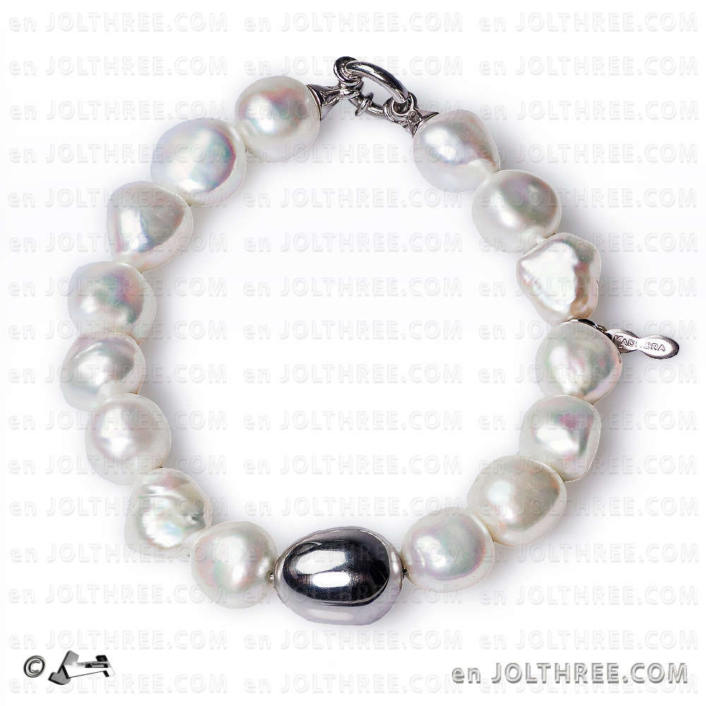 74f236cc2a56 Pulsera de perlas barrocas y plata